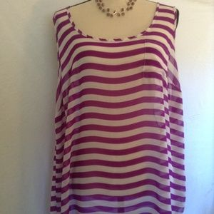 torrid sheer purple/white top Size 3X